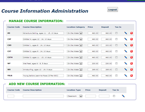 Course Administration Screen