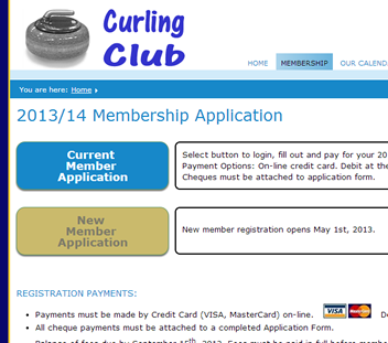 Member Application Screen